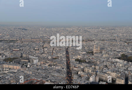 Paris from above at dusk, seen from the Montparnasse Tower - Stock Photo