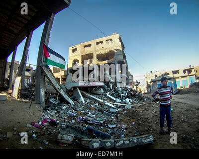 Shujayea in the Gaza Strip. Bombed by Israel during 'Operation Protective Edge'. - Stock Photo