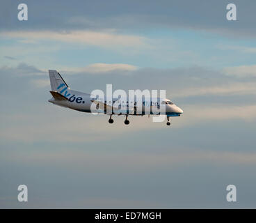 Saab 340B Flybe British European (Loganair) G-LGND approaching Aberdeen Dyce Airport in North East Scotland. SCO - Stock Photo