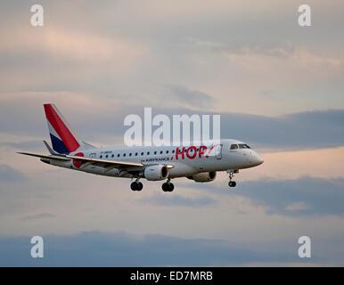 Hop (Air France) Embraer 170LR (ERJ-170 landing at Aberdeen Dyce Airport, Scotland.  SCO 9392. - Stock Photo