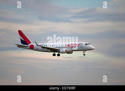 Hop (Air France) Embraer 170LR (ERJ-170 landing at Aberdeen Dyce Airport, Scotland.  SCO 9393. - Stock Photo