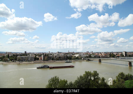 Ships on the River Danube by the city of Novy Sad, Serbia. A bridge spans the Danube. - Stock Photo