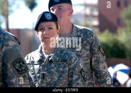 Soldiers in the U.S. Army march in the Veterans Day Parade, which honors American military veterans, in Tucson, - Stock Photo