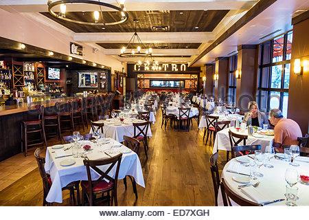 Chicago Illinois River North downtown Centro Ristorante restaurant Italian inside interior empty man woman couple - Stock Photo
