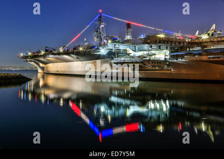 USS Midway aircraft carrier (now a museum), San Diego, California USA - Stock Photo