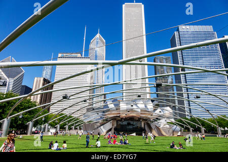 Chicago Illinois Loop Millennium Park Jay Pritzker Music Pavilion bandshell Harris Theater theatre Frank Gehry architect - Stock Photo