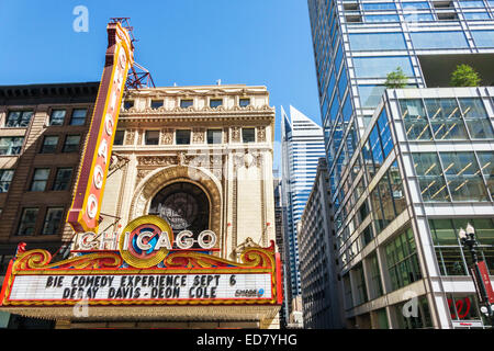 Chicago Illinois Loop Retail Historic District downtown North State Street Willoughby Tower Chicago Theater marquee - Stock Photo
