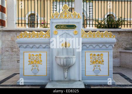 An ornate street water fountain in Istanbul, Turkey, Eurasia. - Stock Photo