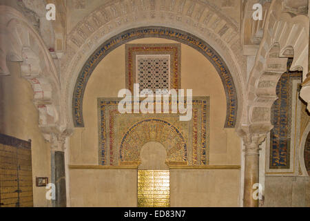CORDOBA SPAIN MOSQUE CATHEDRAL OR MEZQUITA HIGHLY DECORATED MOSLEM DOORWAY IN THE MIHRAB AREA - Stock Photo