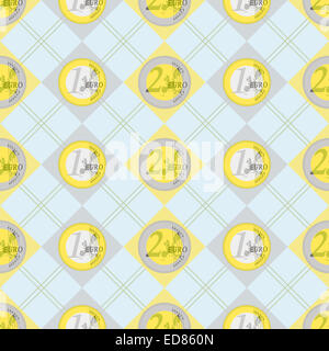 Nice background of two and one euro coins decorated pattern - Stock Photo