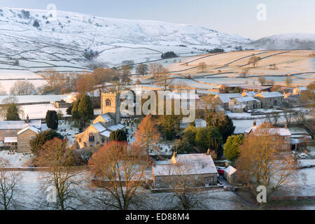 Burnsall village on the River Wharfe in Wharfedale, The Yorkshire Dales, England. - Stock Photo