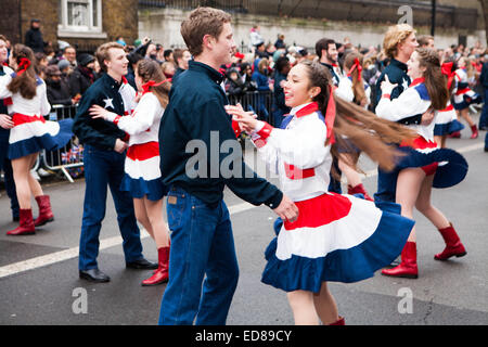 Westminster, Central London, London, UK 1st January 2015 The Wildcat Wranglers London New Years Parade Day 2015 - Stock Photo