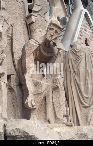 Passion Facade, Sagrada Familia, Barcelona, Spain - Stock Photo