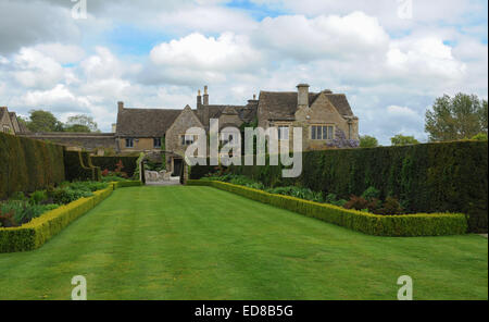 View of Garden and House at Whatley Manor in The Cotswolds, near Malmesbury, Wiltshire, England, UK - Stock Photo