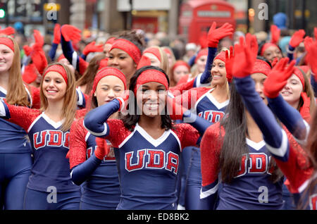 London, UK. 1st January, 2015. New Year's day Parade from Piccadilly to Parliament Square. UDA Cheerleaders - Stock Photo