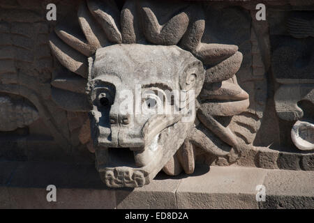 Mexico, State of Mexico,Teotihuacan, Temple of the Feathered Serpent - Stock Photo