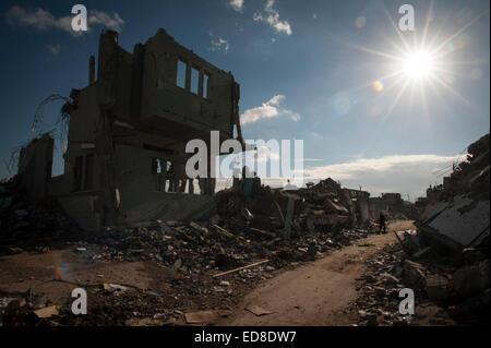 Bomb damage in Shujayea, Gaza Strip, Palestinian Territories. - Stock Photo