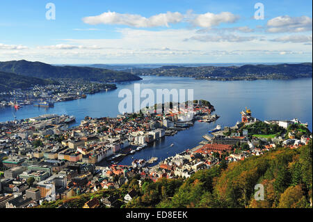 View of Bergen from Mount Floyen, Norway. Mt. Floyen is a famous tourist attraction in Bergen. You can go up here - Stock Photo