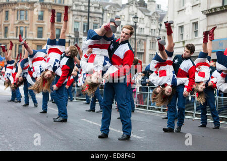 London, UK, 1st January 2015. The Lake Highlands Wildcat Wranglers from Texas, USA perform their routine with a - Stock Photo