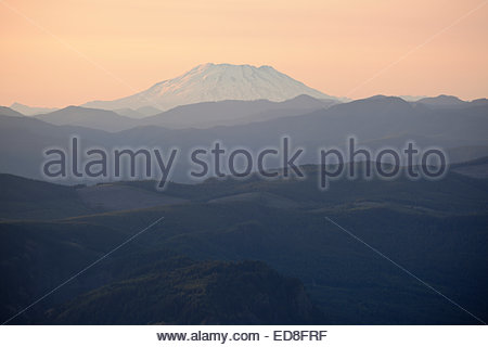 Scenic View of Mount St. Helens at Sunset from Larch Mountain, Mount Hood National Forest, Oregon - Stock Photo