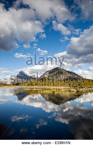 Sulphur Mountain and Mount Rundle Water Reflection at Vermillion Lakes, Banff National Park, Alberta, Canada - Stock Photo