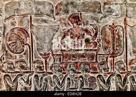 The army of King Suryavarman II bas relief on the south gallery, west wing at Angkor Wat temple, Cambodia - Stock Photo
