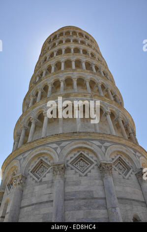 Leaning Tower of Pisa, Italy against a blue sky, blocking the sun - Stock Photo