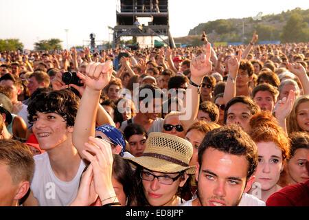 BENICASIM, SPAIN - JULY 19: People (fans) at FIB (Festival Internacional de Benicassim) 2013 Festival. - Stock Photo