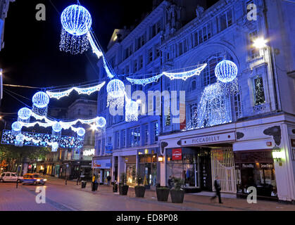 Piccadilly Arcade in Birmingham lit with Xmas lights, west Midlands, England, UK at Night - Stock Photo