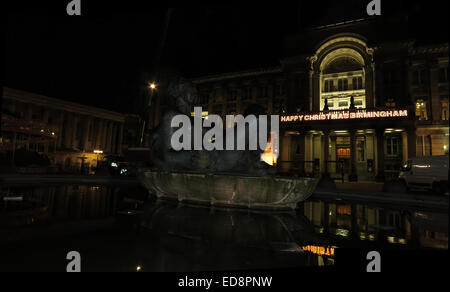 Happy Christmas Birmingham, The River,Floozie in the Jacuzzi, Victoria Square,Birmingham, West Midlands, England, - Stock Photo