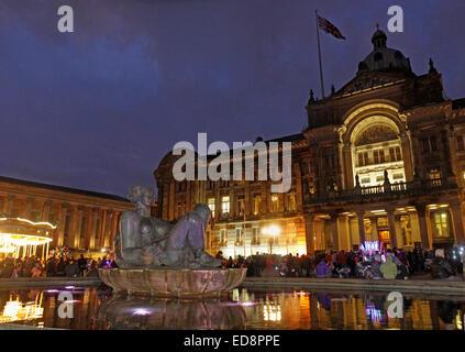 Birmingham Town Hall Council House,Victoria Square, Birmingham, England, UK, B3 3DQ, at dusk - Stock Photo