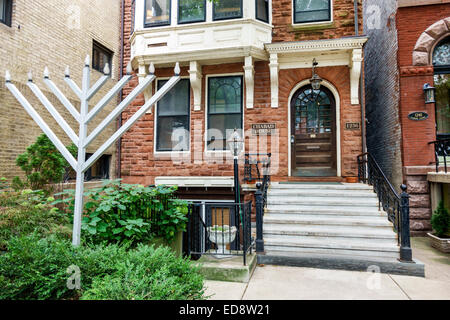 Chicago Illinois Gold Coast Historic District Lubavich Chabad House exterior religion Orthodox Judaism Hasidic movement - Stock Photo