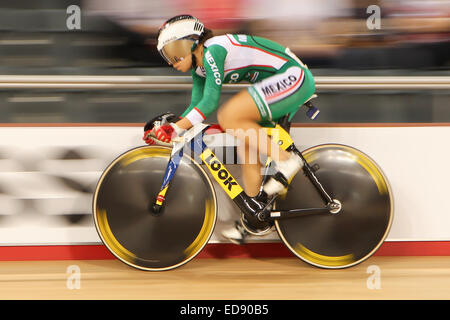 Franny Maria Fong Echevarria of Mexico takes part in the Women's Sprint during Day Two of the Track Cycling World - Stock Photo