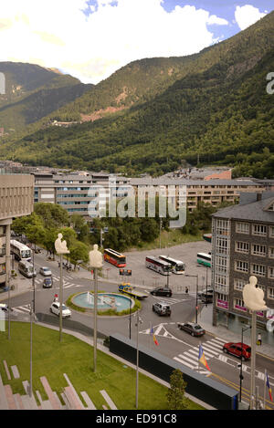 ANDORRA LA VELLA, ANDORRA-SEPTEMBER 9- Pedestrians are on the sidewalk. Vehicles moving on the streets on September - Stock Photo