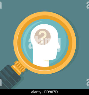 Psychology concept in flat style - human brain icon and magnifier - Stock Photo