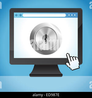Internet security concept  - lock on the screen - Stock Photo