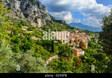 Village of moustiers-sainte-marie, Provence, South of France, Verdon region - Stock Photo