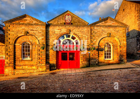 Built in 1854 this is the Victorian Market Hall at Richmond, North Yorkshire. Best Light Images display here every - Stock Photo