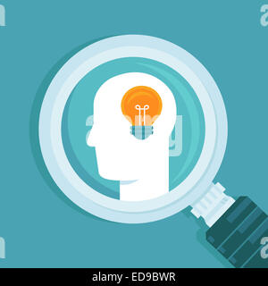 Creative idea concept in flat style - human head and light bulb - Stock Photo