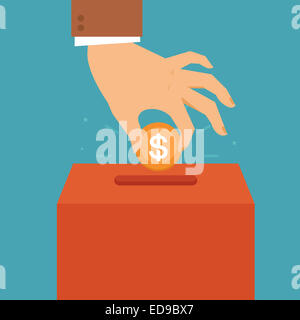 Donation concept in flat style - hand putting coin in the box for charity organization - Stock Photo