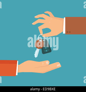 Car rental or sale concept in flat style - hand holding car key - Stock Photo