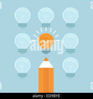 Marketing concept in flat style - stand out from the crowd - bright light bulb and pencil