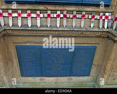 Lichfield Cenotaph war Memorial, names of the war dead, Staffordshire, England, UK - Stock Photo