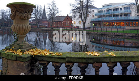 Panorama of the Lichfield city down by the river, Staffordshire at dusk, England, UK in autumn - Stock Photo