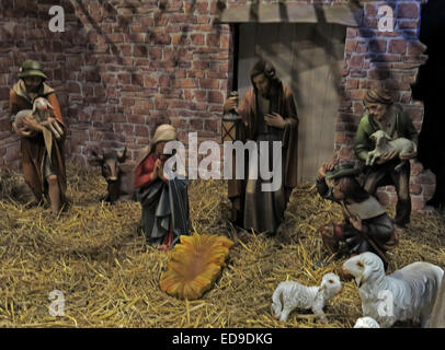 Manger and Christmas nativity scene at Lichfield cathedral Staffordshire, England UK - Stock Photo