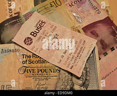 Lothian Buses bus Ticket and Scots banknotes from Edinburgh, Scotland, UK sideways - Stock Photo