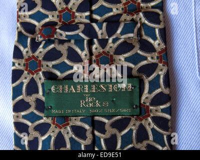 Interesting vintage Tie rack Charleston  tie, male neckware in silk - Stock Photo