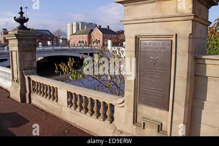 Burma Star Association Warrington Branch bronze plate at Bridgefoot Cenotaph, Cheshire, England, UK - Stock Photo