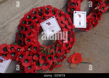 Remembrance day & Poppies Warrington Cenotaph Nov 2014, Bridgefoot, Wilderspool Causeway, Cheshire, England, UK - Stock Photo