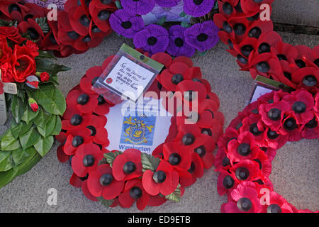 Remembrance day & Poppy wreaths Warrington Cenotaph Nov 2014, Bridgefoot, Wilderspool Causeway, Cheshire, England, - Stock Photo